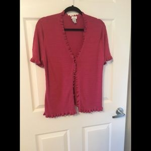 Jaclyn Smith V neck , one button cardigan